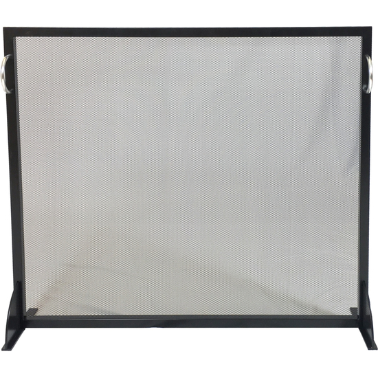 Black Wrought Iron and Stainless Steel Panel Screen