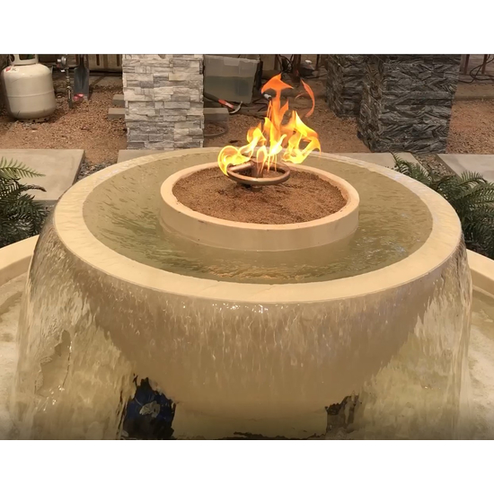 Closeup of the California Fountain Fire and Water Bowl in Sand Color