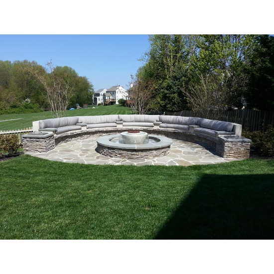 California Fountain Fire and Water Bowl shown in white with a custom basin