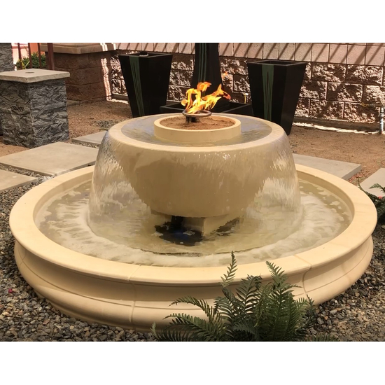 California Fountain Fire and Water Bowl in sand color with optional basin