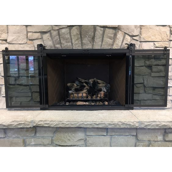 Hudson Cable Roller Sliding Masonry Fireplace Door in Rustic Black
