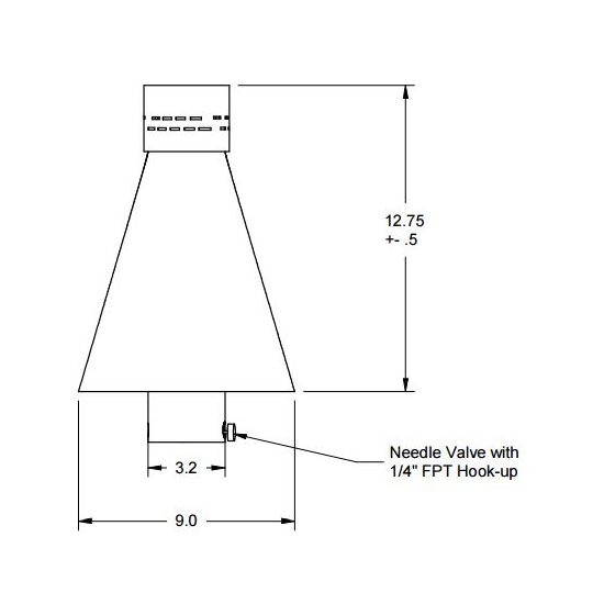 Hammered copper match lit tiki torch head diagram