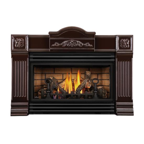Majolica Brown Roxbury Direct Vent Gas Fireplace Insert.