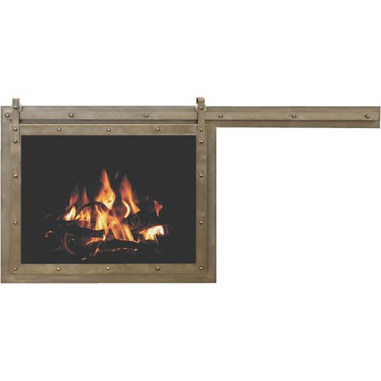 Paterson Single Sliding Fireplace Door in Matte Black