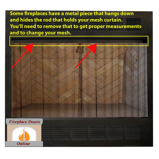 Some fireplaces have a piece of metal that hides the mesh rod, you'll need to remove that.