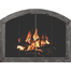 Cascade Arched Masonry Fireplace Door in Burnished Bronze with designer handles & bi-fold doors
