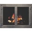 Denali Masonry Fireplace Door in Antique Gray With NO RAIL and contemporary handles.