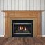 The Beaumont fireplace mantel made with red oak wood with a medium stain.