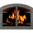 Forged Steel Laramie Arched Fireplace Door in clear natural finish