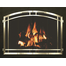 Cascadian Arched Conversion Fireplace Door with Matte Black Frame and Arch Door & Window Pane in Plated Satin Brass