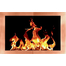 Portland Willamette Broadway Fireplace Door for factory built fireplaces with hidden main frame and Polished Copper door frame