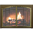 Portland Willamette Ovation Arch Conversion Masonry Fireplace Door shown with Textured Mocha main frame and Satin Brass door frame with window pane design