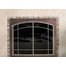 Ovation Arch Conversion Masonry Fireplace Door: Antique Copper main frame with Brushed Nickel door frame with window pane design