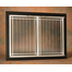 Ovation door for masonry fireplaces: Satin Black main frame with Polished Nickel door frame with deco design