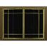 Ovation Masonry Fireplace Door: Textured Mocha main frame with Polished Brass door frame with window pane design