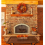 Installation suggestion for Revelation Arched masonry fireplace door, shown in polished brass