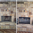 Customer submitted before and after photos - Thin Line masonry fireplace door featuring an inside fit frame in Textured Black