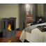 Suggested room setting with the Castlemore direct vent gas stove shown in Metallic Black finish