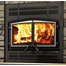 Stratford Fireplace with Prairie Style Face Plate and Brushed Nickel Door